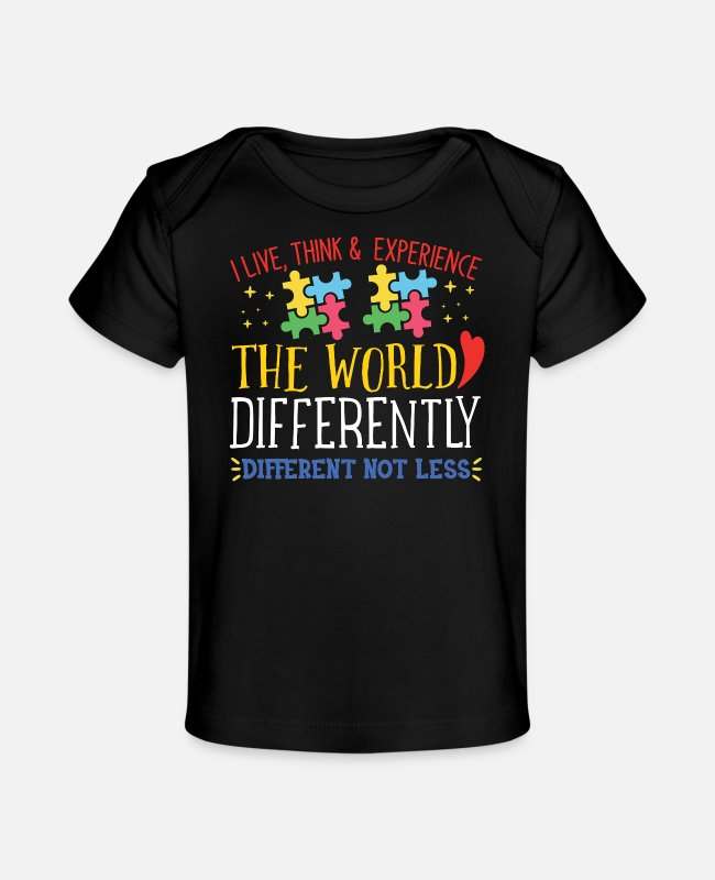 Autism Baby T-Shirts - World Autism Awareness Gift Autism Puzzle bSign - Baby Organic T-Shirt black