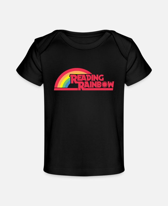 Quote Baby T-Shirts - Reading Rainbow - Baby Organic T-Shirt black