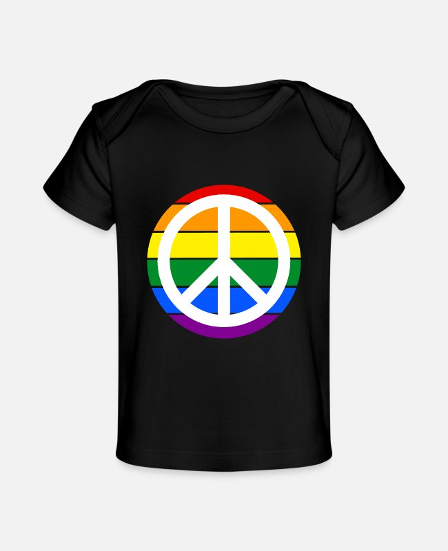 Acceptance Baby T-Shirts - Minimalist Peace sign rainbow flag - Baby Organic T-Shirt black