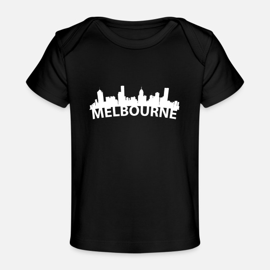 Silhouette Baby Clothing - Arc Skyline Of Melbourne Australia - Baby Organic T-Shirt black