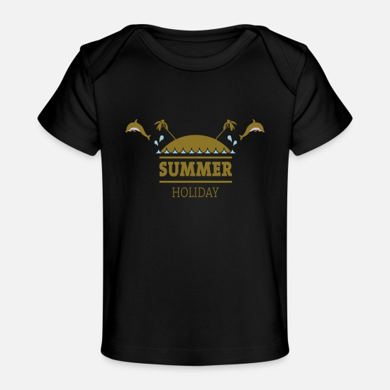 Dolphin Baby Clothing - Summer Holiday - Baby Organic T-Shirt black