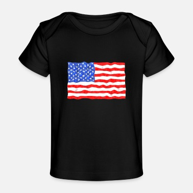 Stars and Stripes American Flag Distressed - Baby Organic T-Shirt