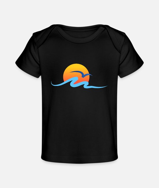 Water Baby T-Shirts - Summer - Wave - Design - Water - Vacation - Baby Organic T-Shirt black