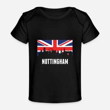 Nottingham Flag British Flag Nottingham Skyline - Baby Organic T-Shirt