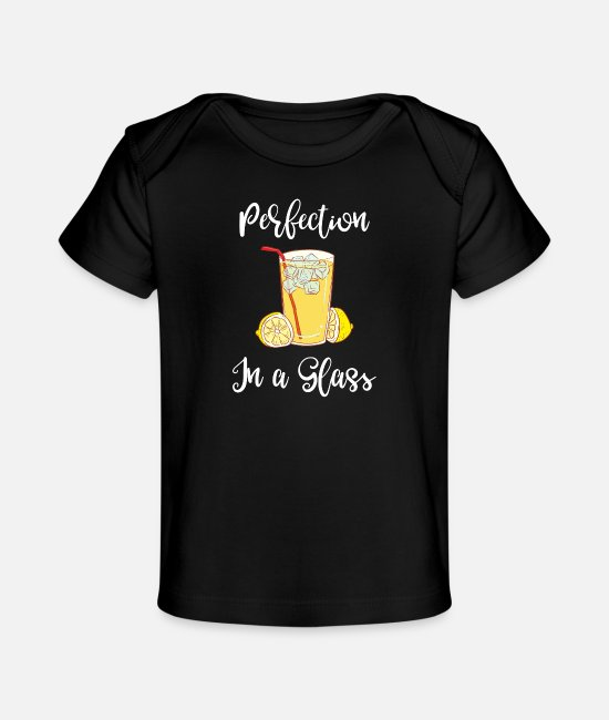 Breakfast Baby T-Shirts - Foodie Perfection in a Glass Lemonade - Baby Organic T-Shirt black