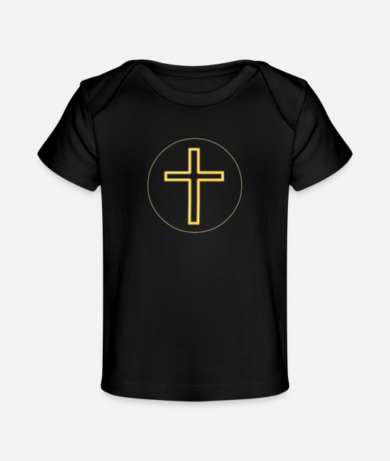 Gold Baby T-Shirts - Cross Long Gold-White S2- - Baby Organic T-Shirt black