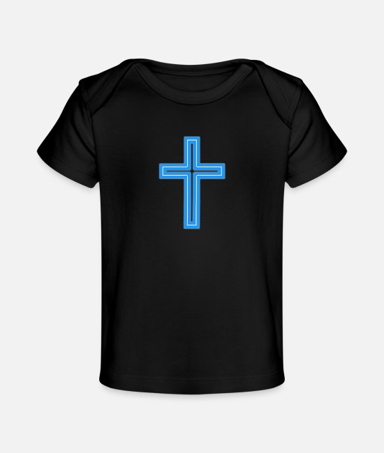 Church Baby T-Shirts - Cross Long White-Baby Blu - Baby Organic T-Shirt black