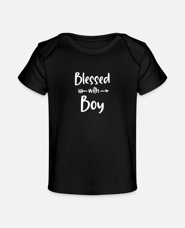 Gigi Baby T-Shirts - Blessed with boy shirt | Gift for Mom with Saying - Baby Organic T-Shirt black
