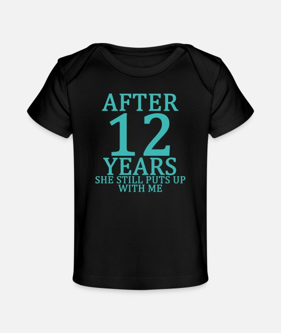 Engagement Baby T-Shirts - twelfth_12th_anniversary_married_funny_tshirt - Baby Organic T-Shirt black