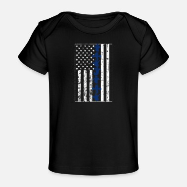 Ghost Thin Blue Line Flag Design with a line of Ghosts - Baby Organic T-Shirt