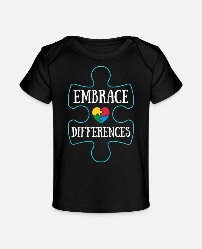 Autism Baby T-Shirts - Embrace Differences Autism Awareness - Baby Organic T-Shirt black