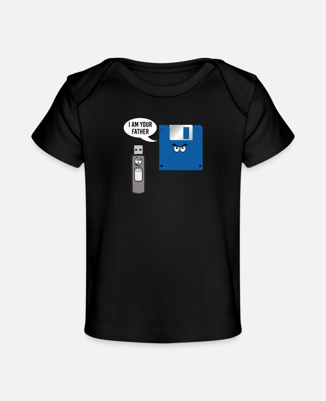 Father's Day Baby T-Shirts - I am Your Father! Funny Usb Stick and Floppy Disk - Baby Organic T-Shirt black