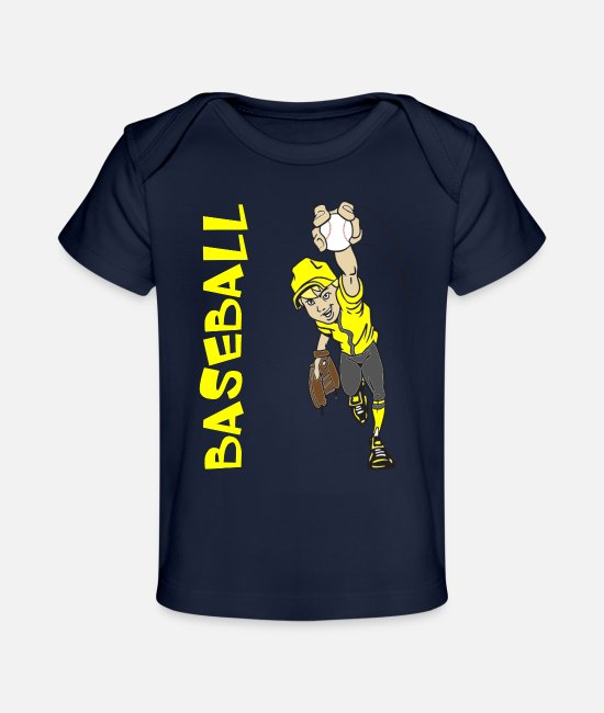 Ball Baby T-Shirts - BASEBALL BOY PITCHING - Baby Organic T-Shirt dark navy