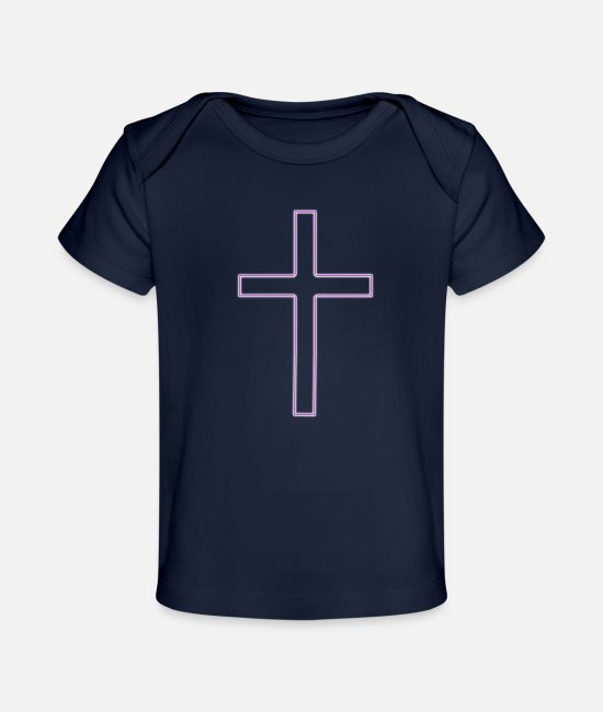 Church Baby T-Shirts - Cross Long Dark Pink S - Baby Organic T-Shirt dark navy