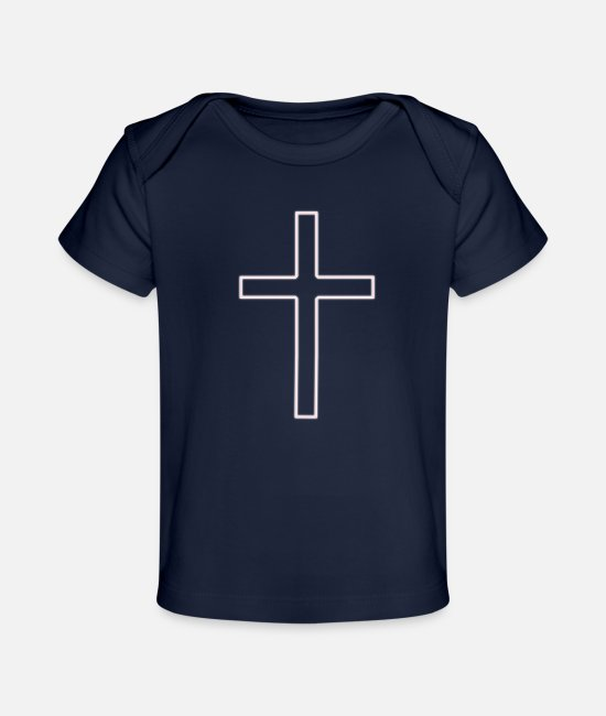 Church Baby T-Shirts - Cross Long Pink S - Baby Organic T-Shirt dark navy