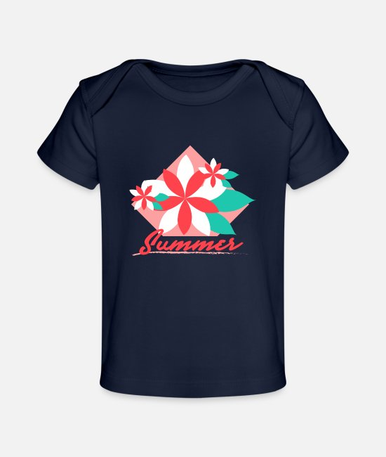 Surf Baby T-Shirts - flower holiday summer Gross - Baby Organic T-Shirt dark navy