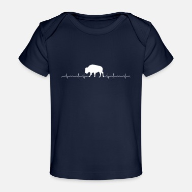 Funny Bison Bison heartbeat lover - Baby Organic T-Shirt