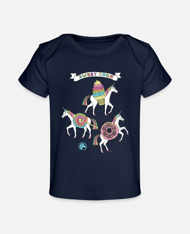 Funny Unicorn Baby T-Shirts - Sweet Corn Unicorns Outline - Baby Organic T-Shirt dark navy