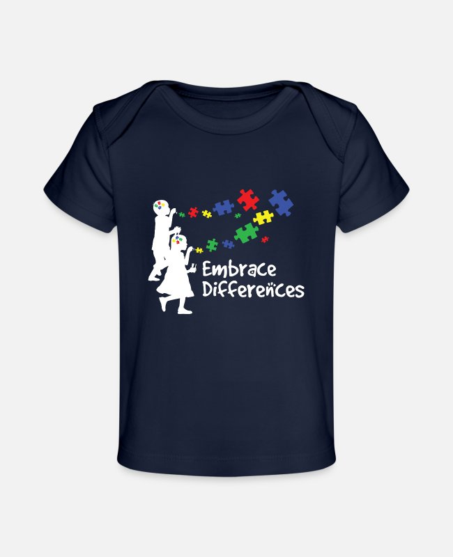 Autism Baby T-Shirts - Embrace Differences Autism Awareness Support Gifts - Baby Organic T-Shirt dark navy