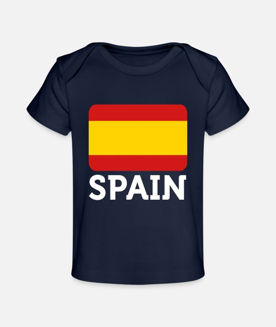 Don Quijote Baby T-Shirts - National Flag Of Spain - Baby Organic T-Shirt dark navy
