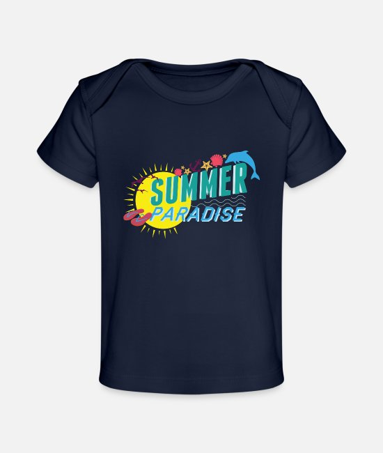 Summer Colors Baby T-Shirts - summer paradise holiday Gross - Baby Organic T-Shirt dark navy