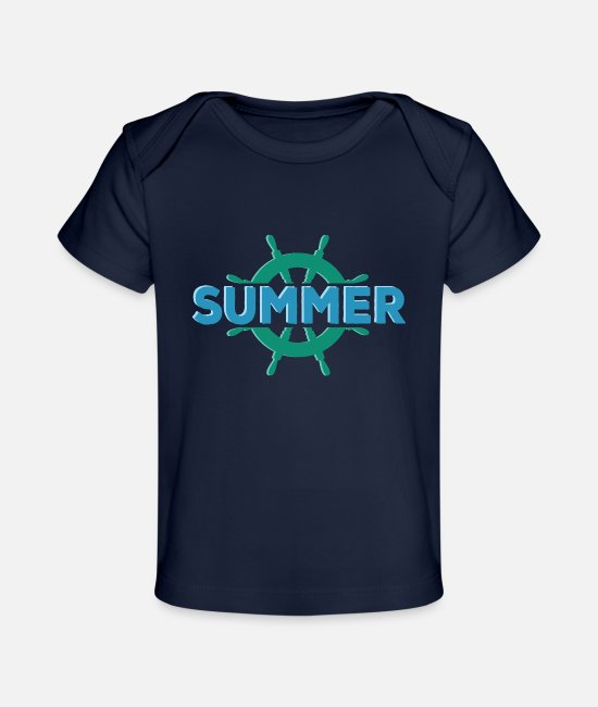 Boating Baby T-Shirts - summer holiday boat Gross - Baby Organic T-Shirt dark navy