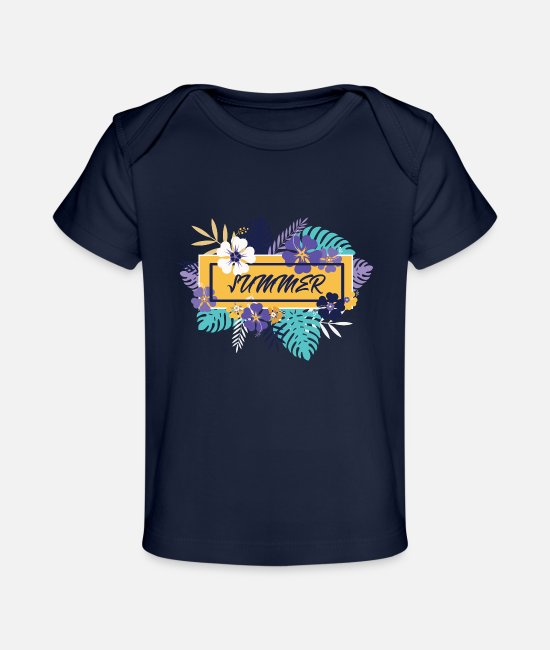 Holiday Island Baby T-Shirts - summer leaf holiday Gross - Baby Organic T-Shirt dark navy