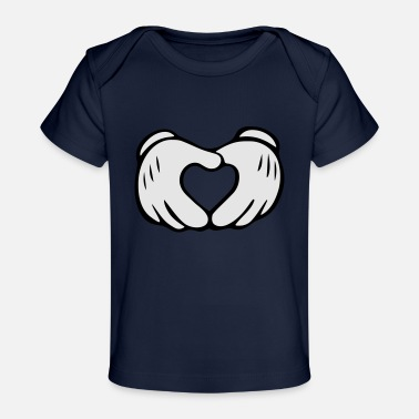 Mouse Mickey Mouse Hands Heart - Baby Organic T-Shirt