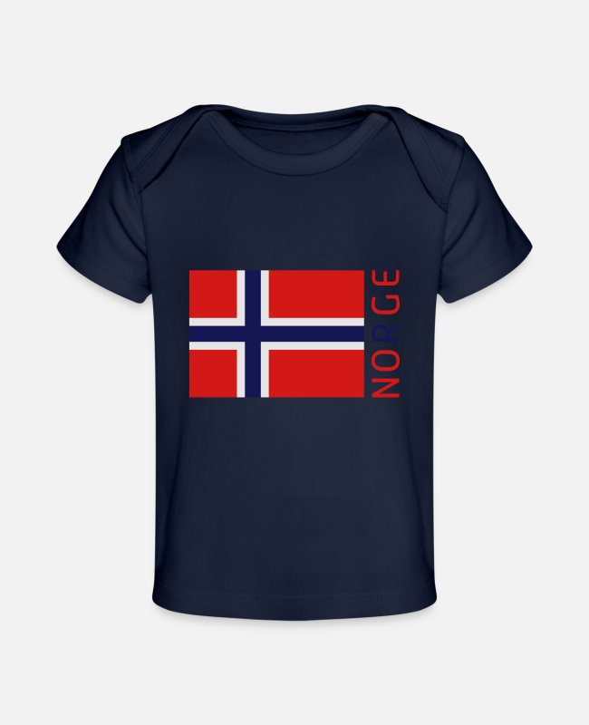 Norge Baby T-Shirts - Norway Flag - Baby Organic T-Shirt dark navy