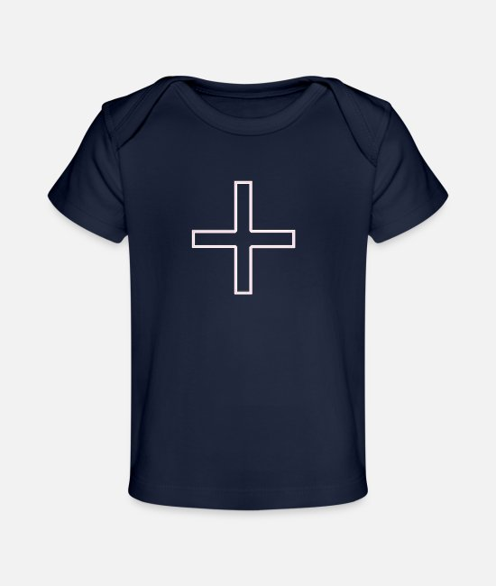 Church Baby T-Shirts - Cross Pink S - Baby Organic T-Shirt dark navy