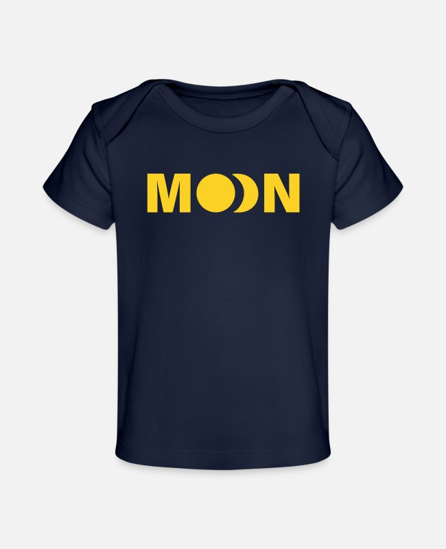 Earth Baby T-Shirts - MOON - Baby Organic T-Shirt dark navy
