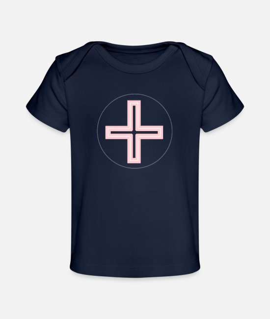 Church Baby T-Shirts - Cross Pink Round L - Baby Organic T-Shirt dark navy