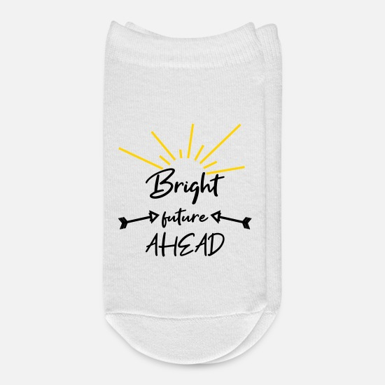 Typography Socks - bright future ahead shines - Ankle Socks white