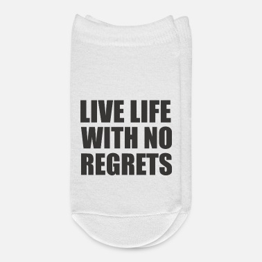 Bold Bold typography quote - live life with no regrets - Ankle Socks