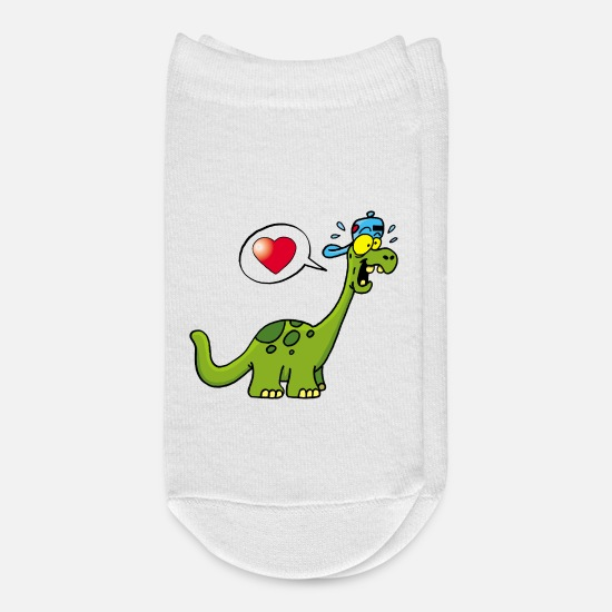 Love Socks - Manga kawaii dinosaur - Ankle Socks white