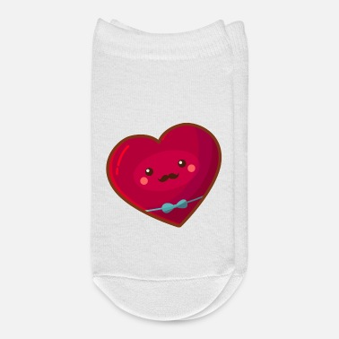 Cupido Cute Heart with Mustache and Bow Tie - Ankle Socks