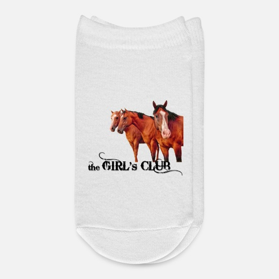 Country Socks - The Girl's Club Western Theme with Horses - Ankle Socks white