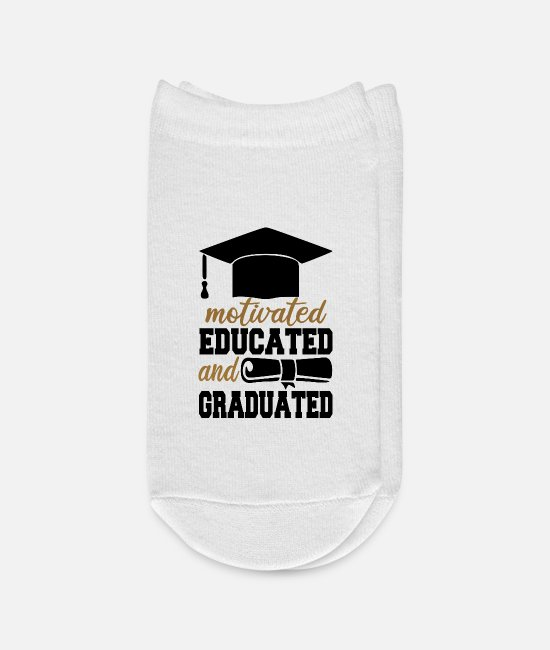 High School Graduate Socks - Motivated, Educated And Graduated - Ankle Socks white
