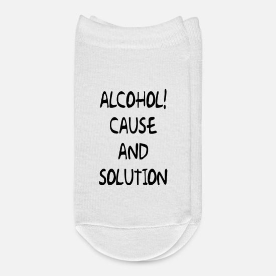 Alcohol Socks - ALCOHOL CAUSE AND SOLUTION - Ankle Socks white