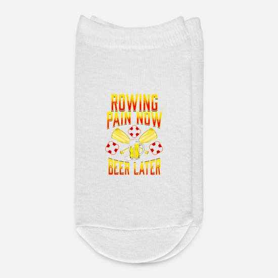 Rowing Socks - Rowing Pain Now Beer Later Funny Crew Rowing Sport - Ankle Socks white