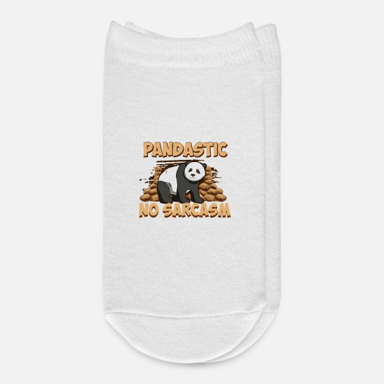 Panda Socks - You Are Pandastic, No Sarcasm Attached Funny Panda - Ankle Socks white