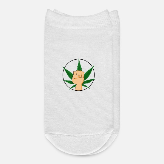 Fist Socks - 420 Mary Jane Fist Smoking Weed Every Day Stoner - Ankle Socks white