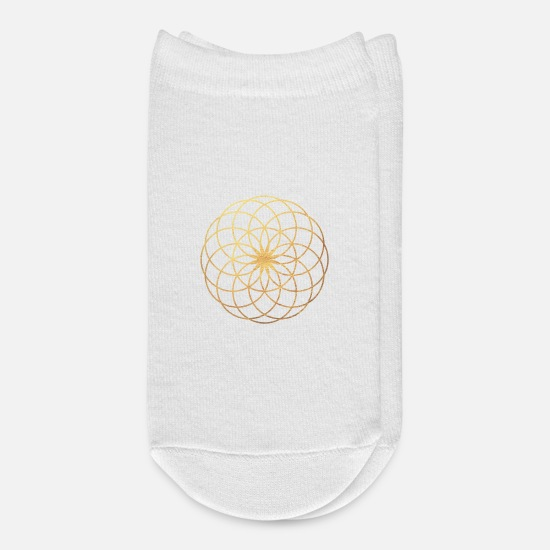 Yogi Socks - Gold Yoga Mandala Flower - Ankle Socks white