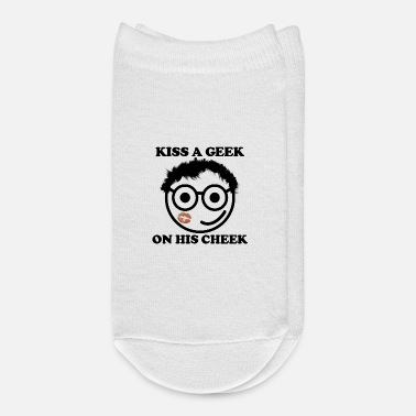Geek Kiss a geek on his cheek cartoon - Ankle Socks