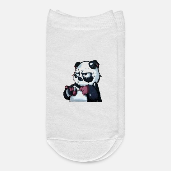 Panda Socks - Graffiti Panda Bear - Ankle Socks white
