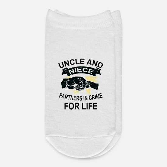 Gift Idea Socks - Uncle and niece friends for life Partners in Crime - Ankle Socks white