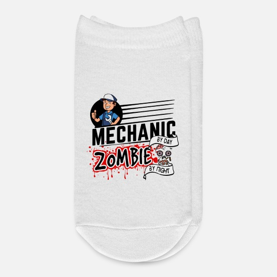 Mechanic Socks - Proud Mechanic Handwerker - Zombie by night - Ankle Socks white