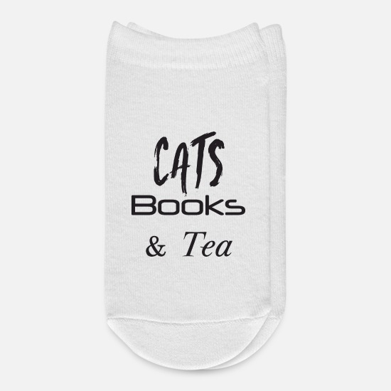 Lover Socks - Cat Shirt Cats Books Tea Cat Lover Gift - Ankle Socks white