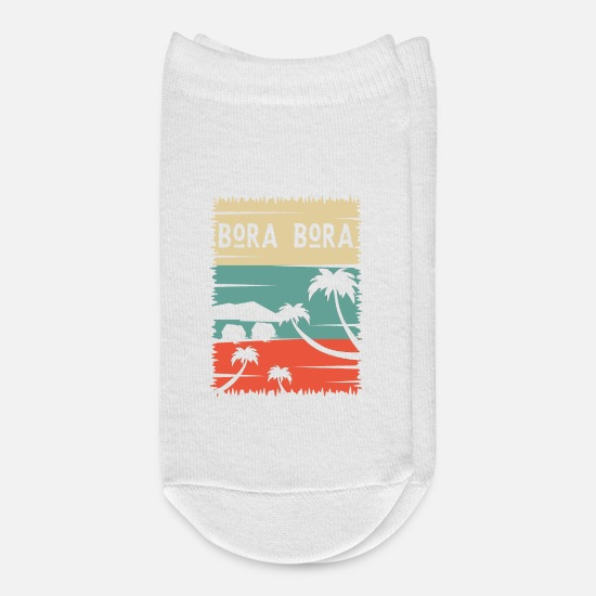 Christmas Socks - Bora Palm Summer Sun Island Beach Vacation Gift - Ankle Socks white