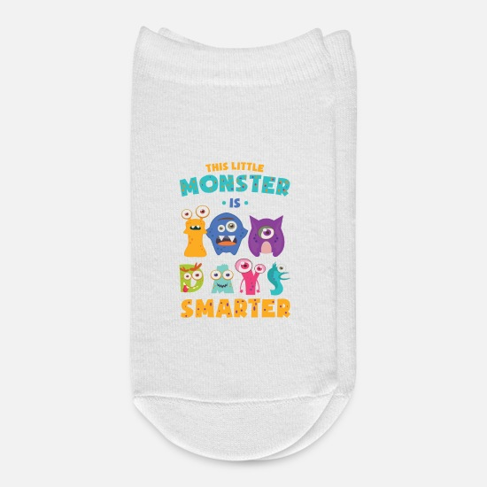 School Socks - This Little Monster Is 100 Days Smarter School Kid - Ankle Socks white